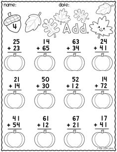 Print & Go Two-Digit Addition Printables {Autumn} Math Practice Worksheets, First Grade Math Worksheets, School Worksheets, 1st Grade Math, Math Exercises, Math Sheets, Math Addition, Math For Kids, Math Lessons