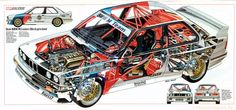 BMW Cutaway Illustrations Are Everything You Ever Wanted Bmw E30 M3, Bmw Autos, Bmw Vintage, Vintage Racing, Cutaway, Sport Cars, Race Cars, Motor Sport, Car Drawings
