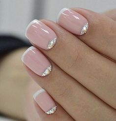 spruce up your French mani with rhinestones for some special occasion