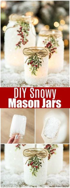 Mason Jars DIY Snowy Mason Jars -how to make faux snow covered mason jar luminaries for your holiday mantle and porch.DIY Snowy Mason Jars -how to make faux snow covered mason jar luminaries for your holiday mantle and porch. Christmas Jars, Winter Christmas, Christmas Movies, Christmas Music, Diy Candles Christmas, Christmas Stuff, Christmas Ball Ornaments Diy, Christmas Lights, Ireland Christmas