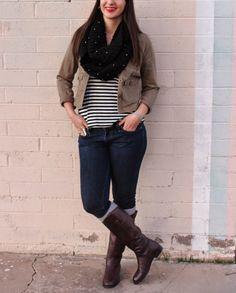 Green Cargo Jacket + Striped Tank + Skinny Jeans + Boots  #outfit #winter #OOTD