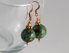 Green marble magnesite bead earrings with copper hooks by Azurika, $15.00
