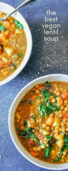 This vegan lentil soup recipe is hearty, healthy, and easy to make. It's got a Middle Eastern spice blend, lentils, carrots, potatoes, tomatoes, and spinach!