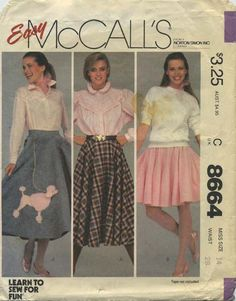 Vintage Circle Skirt Sewing Pattern | McCall's 8664 | Year 1983 | Bust n/a | Waist 28 | Hip 38