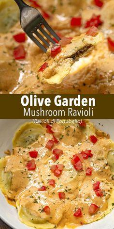 Olive Garden Recipes, Olive Garden Mushroom Ravioli Recipe, Sauce For Mushroom Ravioli, Olive Garden Stuffed Mushrooms, Olive Garden Pasta, Portobello Recipes, Sun Dried Tomato Sauce, Pasta Dinners, Meals