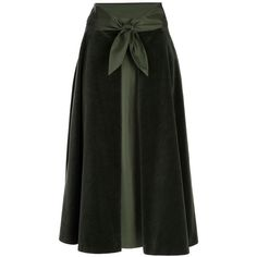 VALENTINO VINTAGE Vintage A-line skirt ($210) ❤ liked on Polyvore featuring skirts, bottoms, valentino, юбки, women, cocktail skirt, green skirt, green velvet skirt, knee length a line skirt and evening skirts