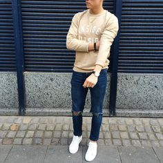 #sweatshirt and ripped jeans by @lukasscepanik7  [ http://ift.tt/1f8LY65 ]