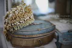 Antique French waxed flower crown