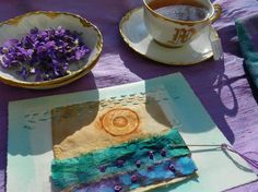 Elizabeth Bunsen be dream play - 5 violets Journal Pages, Journals, Moon Over Water, Wooden Spools, French Decor, Violets, Textile Art, Fiber Art, Fabric Crafts