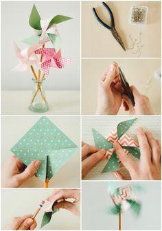 bricolage enfants pas cher et facile: moulin à vent en papier