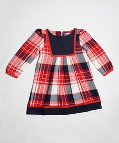 This Red & Navy Plaid Bib Dress - Toddler & Girls is perfect! #zulilyfinds
