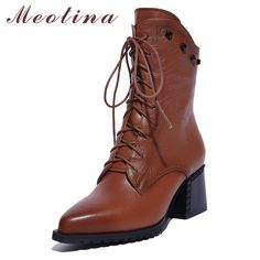 192ebe61371d Meotina Natural Genuine Leather Shoes Women Boots High Heel Ankle Boots  Rivets Lace Up Motorcycle Boots Zip Ladies Shoes Size 10-in Ankle Boots  from Shoes ...