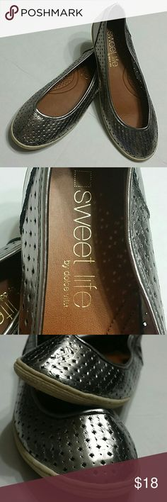 """""""Sweet life"""" by Dolce Vita Silver color flats, no visible size  but they fit like a 7. Dolce Vita Shoes Flats & Loafers"""