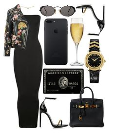 """""""while you catch them feels I'mma sip on this drink, it's easing my brain"""" by hoodprophet ❤ liked on Polyvore featuring Cartier, Wolford, Gucci, Yves Saint Laurent, Hermès, Jean-Paul Gaultier, Riedel, Versace and contemporary"""