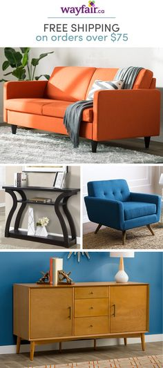 Make modern yours. Taking cues from mid-century style, this furniture is perfect for homes of every size, from first apartments to your dream home. Get inspired by retro designs with modern flair and decorate your space like a pro. Shop styles for every s Mid Century Modern Design, Mid Century Modern Furniture, Midcentury Modern, Mid Century Decor, Mid Century Style, Decorating Your Home, Diy Home Decor, Blue Wall Colors, Ottoman