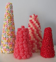 Use toothpicks to spear candy into foam cone. Coordinate with theme colours!!