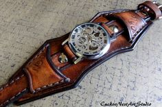 Leather Watch Cuff, Men's Leather Watch, Vintage style Wrist Watch,  Bracelet watch, Antiqued Leather Strap