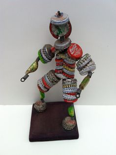 Vintage Folk Art Bottlecap Man by LaDolfina on Etsy, $42.00