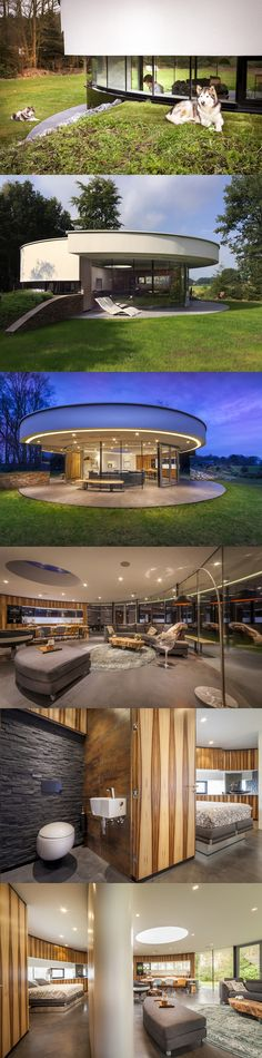 Imagine living in a circular house with a 360˚ view! This couple had this #villa design in mind so that their Alaskan malamutes will always be in sight. From the canopy that extends all the way around the home and can be illuminated at night to the sleek, lavish design within, containing rooms that are creatively sectioned off, the couple can enjoy the picturesque view while ensuring the safety of their canine friends.  #euroarchitecturalcomponents #euroeac #architecturalcomponents #modern…