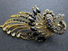 Black / Blue Crystal Rhinestone Phoenix Hair Clip – SunnyStyle Fashion (http://www.sunnystylefashion.com)