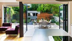 Outdoor Room garden in Highgate, London.  This small contemporary garden was designed to beautifully compliment the ultra modern interiors of this Victorian terrace in Highgate, north London.