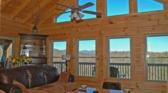 Tryon Log Cabin Great Room created by Blue Ridge Log Cabins for High Rock Rentals #logcabin #loghome #cabins #logcabins #vacationcabin