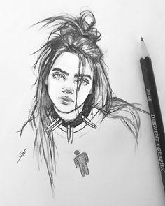 My Billie Eilish drawing amazing Cool Art Drawings, Pencil Art Drawings, Art Drawings Sketches, Animal Drawings, Drawing Drawing, Sketch Art, Drawing Of A Person, Drawing With Pencil, Person Sketch