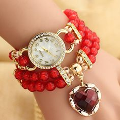 Fashion Women Bracelet Watches Diamond Acrylic Beads Heart Watch Women's Dress Casual Wristwatch ~M24