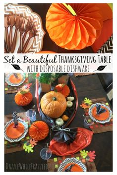 How to set a beautiful Thanksgiving table with disposable dishware. Use paper plates napkins & Thanksgiving table setting. Made paper plates and plastic silverware ...
