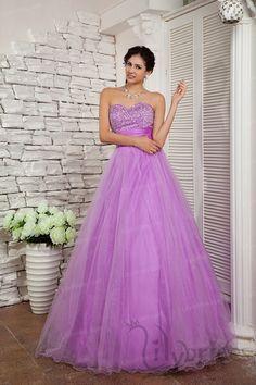 A-line Sweetheart Satin Organza Crystal Floor Length Quinceanera Dress