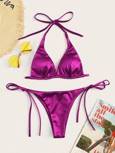 6eb5a30d5dabe Metallic Halter Top With Tie Side Bikini Set Bikini Set, Sexy Bikini,  Casual Tops