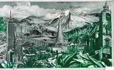 """LOLA ÁLVAREZ BRAVO, Detalle """"Valle de México"""" fotomontaje 1950"""