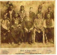 Standing L-R: Me-She-Sea (Osage), Wah-Tsa-Moie (Osage), Maj. W.A. Oliphant (U.S. Army Officer), Ed Big Horse (Osage), Thomas Mosier Sitting L-R: Saucy Chief (Osage), Wah-She-Pe-She (Osage), Alvin Peterson Hovey (Indiana Governor), Ne-Kah-Ko-La (Osage), Claremore (Osage) – 1888