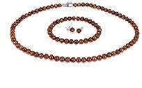 Brown 5 mm Freshwater Pearl Necklace, Bracelet & Earring Set-Sterling Silver-free s/h=NEW