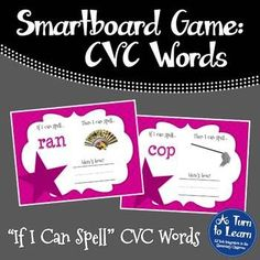 """CVC Words: """"If I Can Spell"""" Spelling Patterns Game - Smartboard/Promethean Board"""