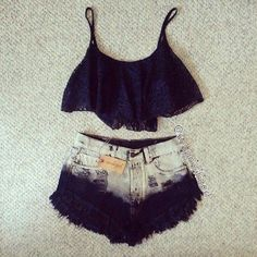 Summer Outfit - Lace Crop Top - Ripped Ombre Shorts