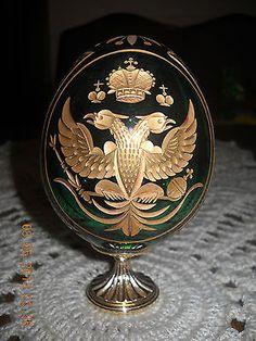 Faberge Egg Deep Forest Green Crystal Egg on Gilded Base numbered rare