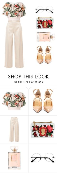 """""""Spring/Summer Classy Floral Outift"""" by kennedyamore ❤ liked on Polyvore featuring Philosophy di Lorenzo Serafini, Christian Louboutin, The Row, Dolce&Gabbana and Chanel"""