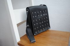Black leather bag with studs by HenandTillLeather on Etsy