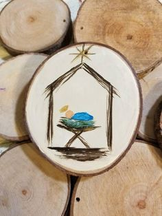 Christmas DIY : Baby Jesus in Manger Christmas Ornament on Wood Nativity Ornaments, Painted Christmas Ornaments, Nativity Crafts, Hand Painted Ornaments, Christmas Wood, Christmas Projects, Kids Christmas, Holiday Crafts, Vintage Christmas
