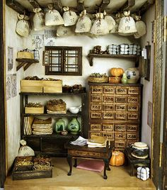 Traditional oriental Herbal Medicine Shop- handmade Dollhouse Miniatures. $579.99, via Etsy.