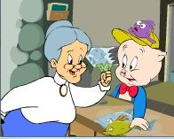 Granny shaking a fist at Porky Pig - Jeffrey Twaragowski - Granny shaking a fist at Porky Pig Granny shaking a fist at Porky Pig - Christmas Cave, Disney Christmas, Kids Christmas, Disney Pig, Disney On Ice, Toot & Puddle, The Canterville Ghost, Peppa Pig Family, Disney Crossovers