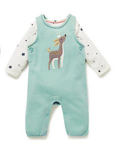 2 Piece Cotton Rich Assorted Print Bodysuit & Dungaree Outfit