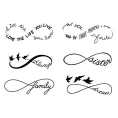 Infinity Symbol Set Temporary Tattoo Set of 12