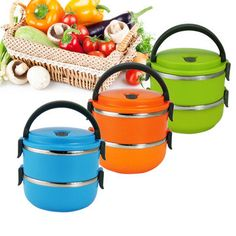 1/2/3 Layers Portable Stainless Steel Lunch Box Thermal Insulated Leak-Proof Food Fruit Storage Cheap - NewChic Mobile.