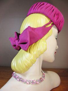 Vintage 40s Fuchsia Magenta Deep Pink Faille Tilt Pillbox Hat New York Creation