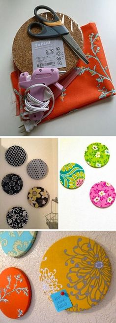 Lovely DIY Fabric-covered circle bulletin boards- put on side of cabinets in kitchen. Memo station!