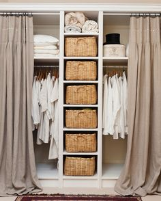 Good idea for covering the master bedroom closet. Add wicker baskets to hide pants etc on shelves.