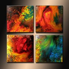 Abstract painting - ORIGINAL Contemporary Modern Fine Art, Colorful Canvas Art, by Henry Parsinia 24x24