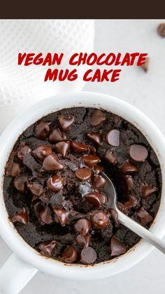 Healthy Chocolate Mug Cake, Mug Cake Healthy, Chocolate Mug Cakes, Chocolate Muffin In A Mug Recipe, Vegan Chocolate, Quick Chocolate Desserts, Chocolate Hummus, Chocolate Treats, Mug Recipes
